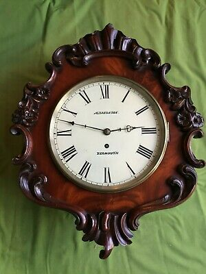 "A   Mahogany 10"" English Fusee Wall Clock"