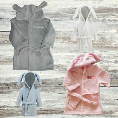 Embroidered Personalised Dressing Gown, Baby Bath Robe Bunny Ears