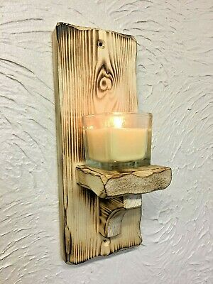 Wall sconce single candle tea light holder rustic chabby chic wall mounted