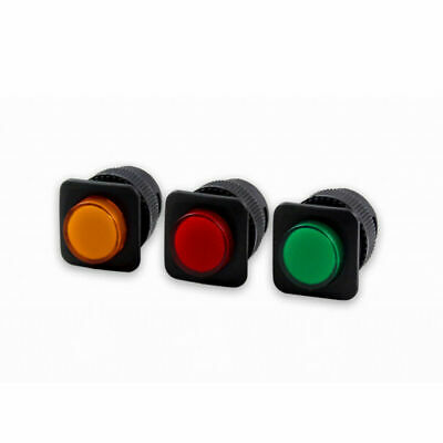 LED Illuminated 16MM Square Momentary Push Button Switch Car Dashboard SPST 2Pin