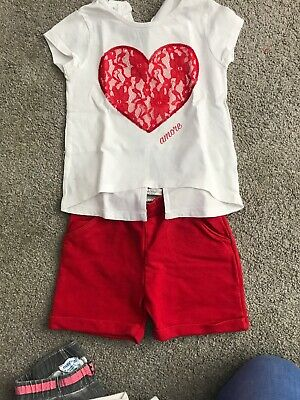 iDO Girls White Heart T-Shirt and Red Shorts Set - 3Years.Only Been Worn Twice