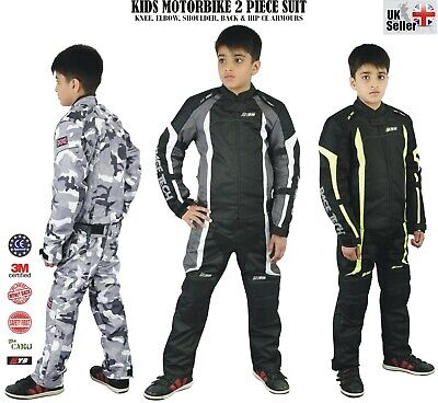 Youth Kids Girls Boys Motorbike 2 piece Suit Motorcycle Jacket Trouser Armours