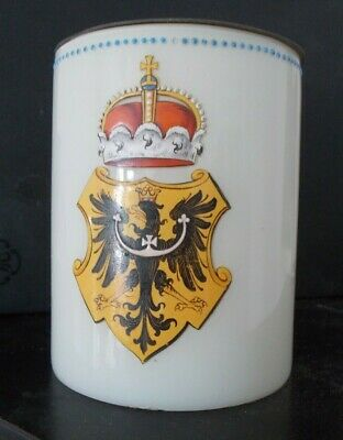 19th c White Glass Beer Stein hand Painted enamelled Prussian Armorial antique