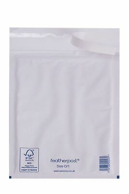 Featherpost Padded Envelopes White Size D, 200mm x 275mm (External), Pack of 100