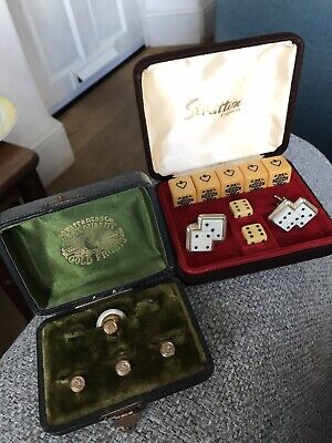 Vintage Gold Front Edwardian Collar Studs & Stratton 1950s Dice Cuff links