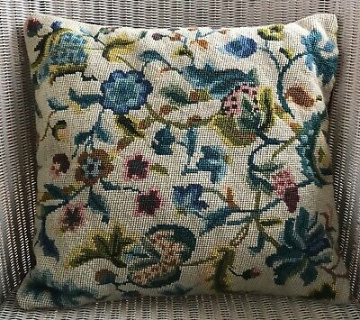 Pretty Vintage Hand Worked Tapestry Cushion