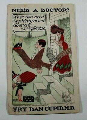 Vintage Dr Dan Cupid Witty Funny 1908 Rare posted Antique Postcard Collectible