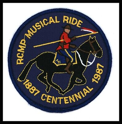 """RCMP Musical Ride Centennial 1887-1987 Canada Police 3.5"""" Embroidered Patch"""
