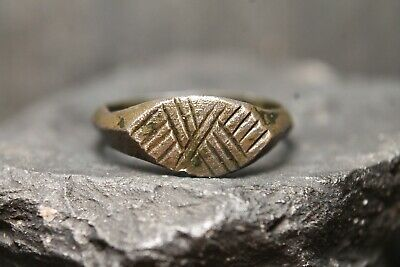 Ancient Primitive Signet Ring, Archaeological Find, 9th-12th Century AD.