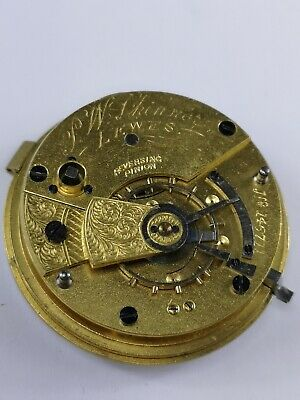 Antique English Pocket Watch Movement in Good Condition - Lewes Retailer (D53)