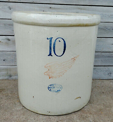 "Antique Vintage Primitive 10 Gallon Red Wing Union Stoneware Crock, 6"" Wing"