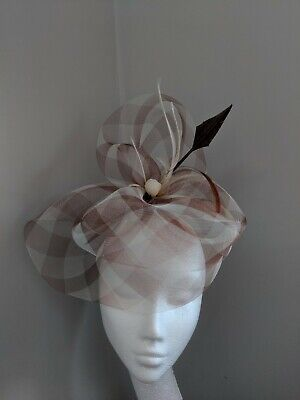 Brown And Cream Check Crinoline Fascinator, Races Weddings