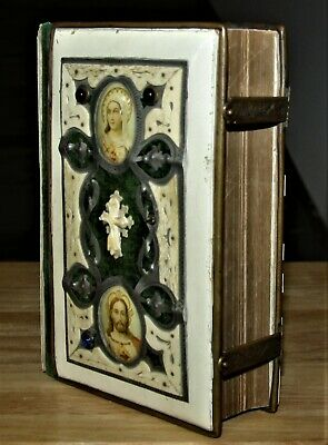 Antique Slovak BEAUTIFUL Bible related celluloid w/ brass & jewels