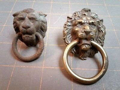 2 Lion Head Brass Plated Dresser Drawer Ring Pull Drops Victorian Era