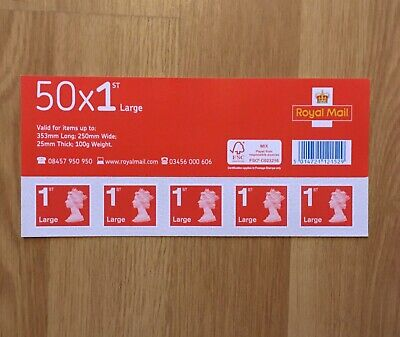 50 x Large First Class Postage Stamps. Royal Mail UK. Self adhesive, new. 1st