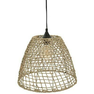 "Lampe Suspension Vintage ""Cône"" 33cm Naturel"