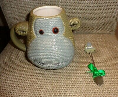 PG Tips Knitted Most Famous Monkey Head Shaped Large Face Mug & spoon