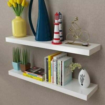 Set of 2 MDF Floating Cubes Wall Storage Book CD Display Shelves White~