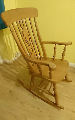 Rocking Chair Wooden - 20th Century Country Farmhouse Antique Rocking Chair