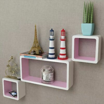 3 MDF Floating Cubes Wall Storage Book CD Display Shelves Square White-pink#