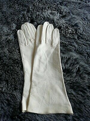 quality Spanish Vintage White Ladies Long soft Leather Gloves