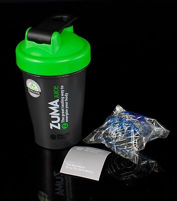ZUMA Juice Edition 20 oz. Blender Bottle + Wire Ball Black & Green NEW & UNUSED
