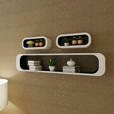 3 MDF Floating Cubes Wall Storage Book CD Display Shelves Square White-black~