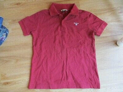 Barbour Boys Burgandy Polo T-Shirt Size L 10-11 years