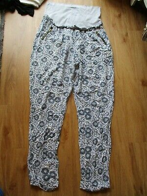 Mamalicious Maternity Blue Print Over Bump Leggings Casual Trousers Size L 12-14