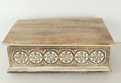 Hand Carved Wooden Box Footed 9 X 13 White Washed Hinged Lid FLAW
