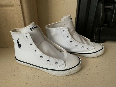 Polo Ralph Lauren White Leather Baseball Trainers Size Kids 13