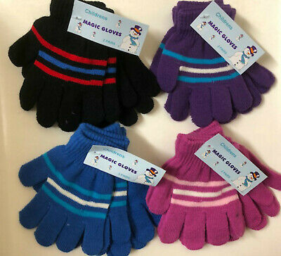 Pack Of 2 Pairs Of Kids Boys/Girls Knitted Magic Gloves - Pink/Purple/Blue/Black