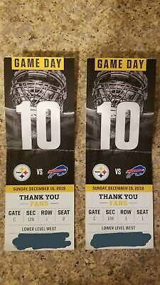 2 Tickets Pittsburgh Steelers vs Buffalo Bills Lower Level Section 128 Row J.