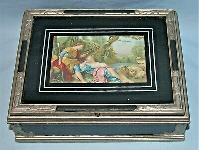 Vintage Victorian Jewelry Casket Trinket Memory Keepsake Wood & Glass Box
