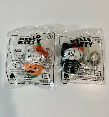 McDonald's 2019 Hello Kitty Halloween Toy #1 & #2 Pumpkin and Skeleton NIP