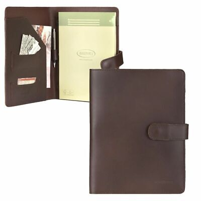 Ruitertassen Writing Case Leather A4 Conference Folder Orga Braun