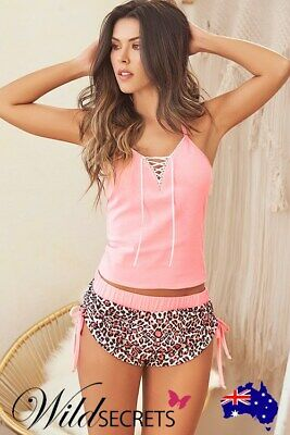 NEW Mapale by Espiral Blissing Out Pink & Leopard Print Top with Shorts