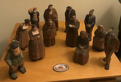 12 Antique/Vintage Solid Wood Carving Figures Hand Carved Apx 5 Inches tall