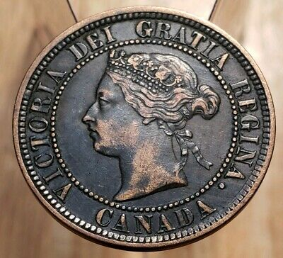 Canada 1884 Obverse #1 Queen Victoria Large Cent-- Rare Excellent Example