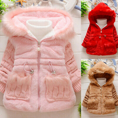 Toddler Kids Baby Girls Winter Fleece Jacket Warm Coat Thick Hooded Outwear UK