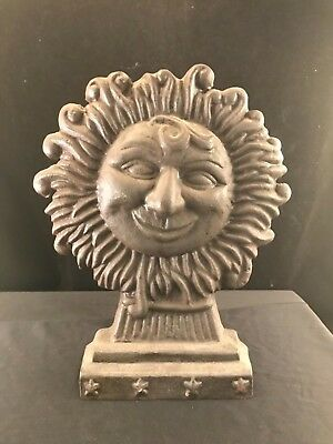 Cast Iron Door Stop Shaped Like A Whimsical Smiling Sun Very HEAVY!!!