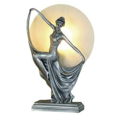 Art Deco Lamp, Silver Table Lamp, Round Glass Shade, Lady Holding Skirt.