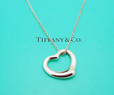 "Tiffany & Co. Elsa Peretti Spain Open Heart 16"" Necklace in Sterling Silver"