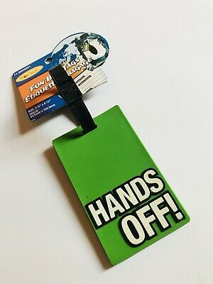 """NWT """"HANDS OFF"""" Funny Travel Luggage Backpack Tag BRAND NEW"""