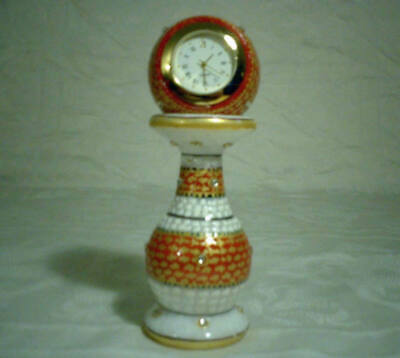 Vintage Stone Studded Marble Clock in Original Gift Box-Works