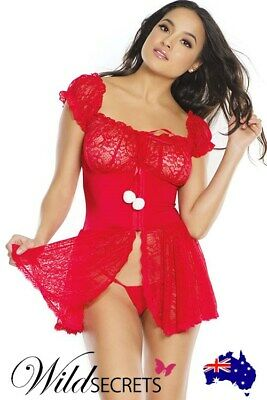 NEW Coquette Holly Daze Lace Babydoll with G-String, Babydoll/Chemise