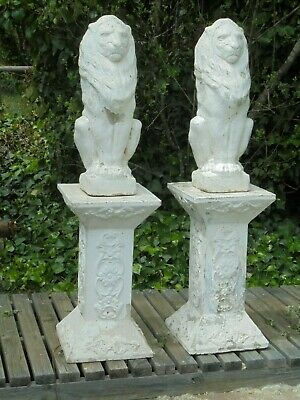 Pair lion garden statues on plinths - Pick up Bowral NSW