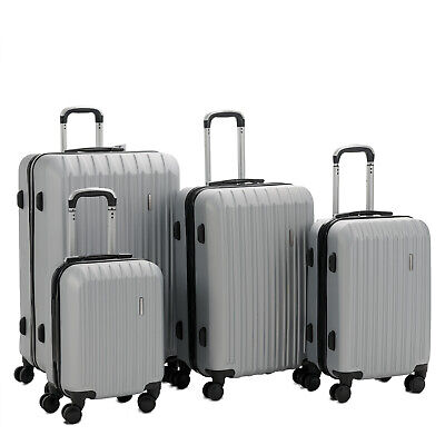 Murtisol 4 Pieces ABS Luggage Sets Hardside Spinner Gray