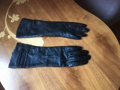 Next Ladies Long Black Leather Gloves Sz Small