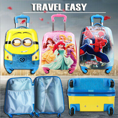 Kids Character Hard Shell 4 Wheel Travel Luggage Cabin Suitcase Trolley Bag Girl